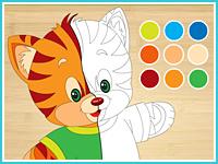 Игра дополни рисунок котёнок