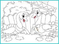 """Раскраска """"Два весёлых гуся"""""""