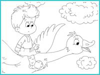 """Раскраска """"Гуси-лебеди"""""""
